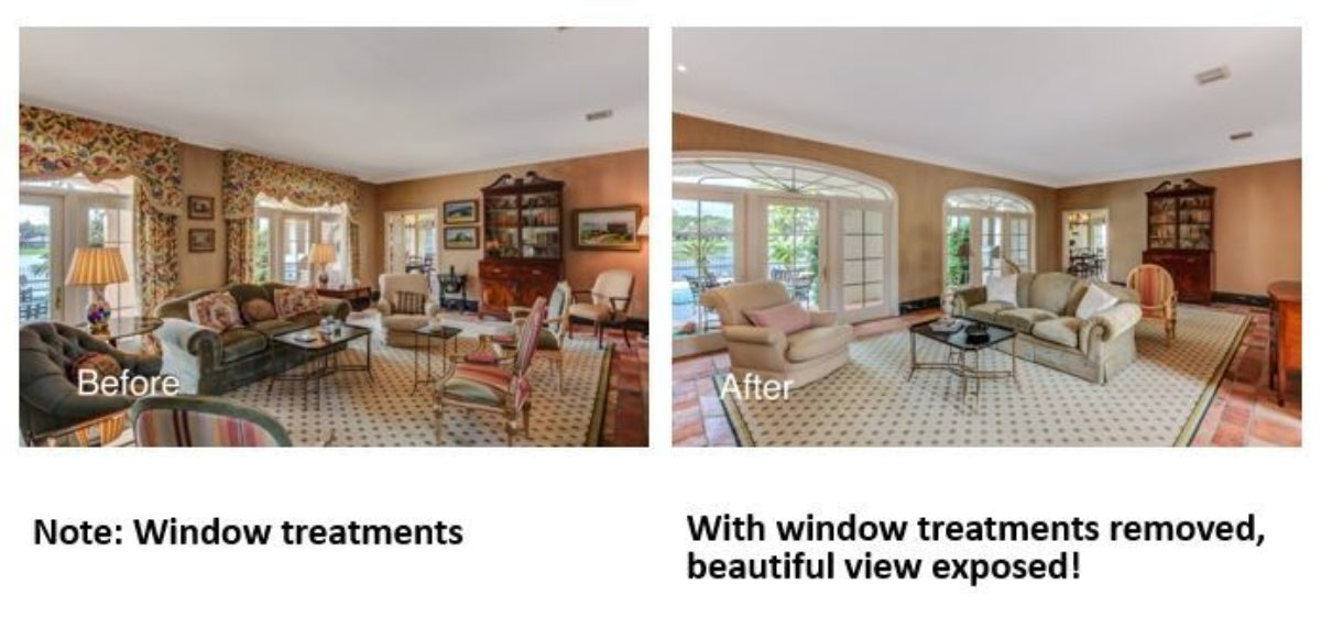 Window treatments removed before and after